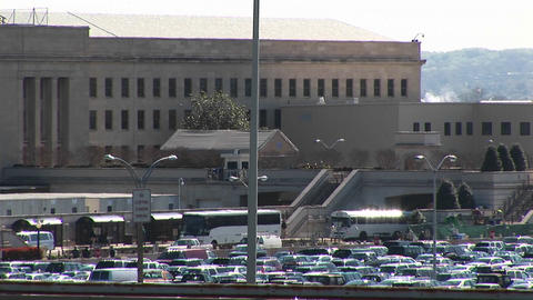 Buses enter the crowded Pentagon parking lot Stock Video Footage