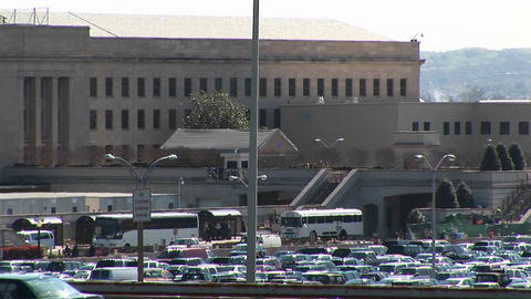 Buses enter the crowded Pentagon parking lot Footage