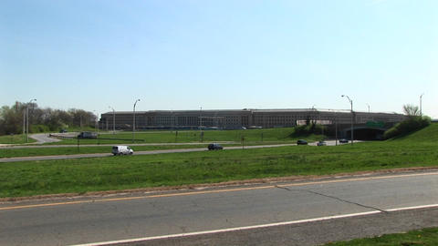 Zoom in over the Pentagon Freeway to the Pentagon Building Stock Video Footage