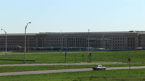 Zoom in over the Pentagon Freeway to the Pentagon Building Footage