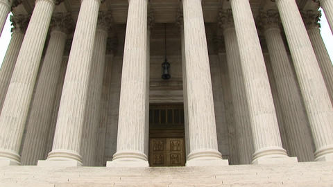 An upward pan of the front of the Supreme Court Footage