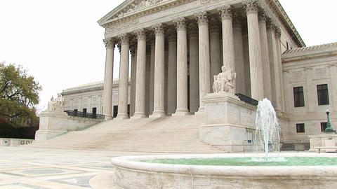 View of entrance and fountain of the U.S. Supreme Court... Stock Video Footage