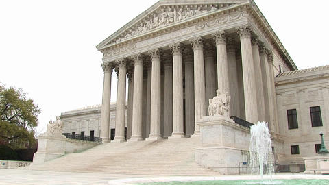 View of entrance and fountain of the U.S. Supreme Court building in Washington, DC Footage