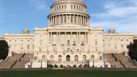 Panning up on the U.S. Capitol building in Washington, DC... Stock Video Footage