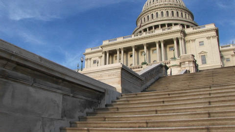 Looking up the steps of U.S. Capitol building for a view... Stock Video Footage