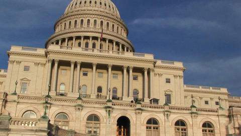 Looking up from U.S. Capitol building's entrance and... Stock Video Footage