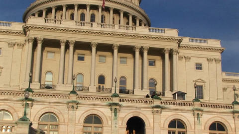 Looking Up From U.S. Capitol Building's Entrance And Focusing On The Mid-level Balcony, Columns And stock footage