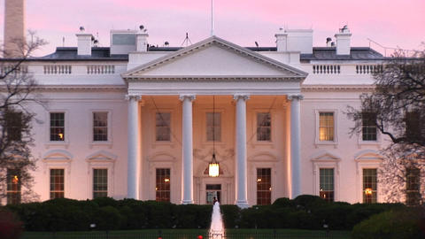 A picturesque look at the White House with outside lights on Footage