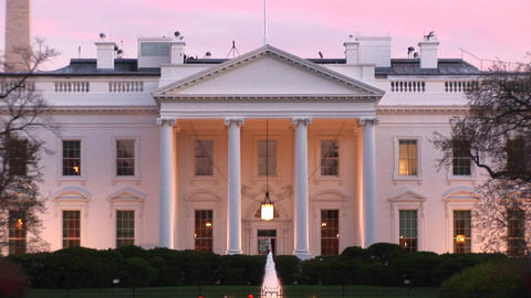 A picturesque look at the White House with outside lights on Stock Video Footage
