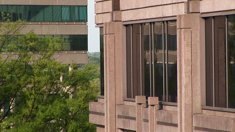 Zoom-in to the long windows on a building in Atlanta,... Stock Video Footage