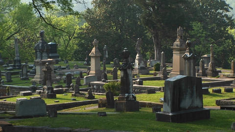 A pan shot of a well-kept cemetery surrounded by a forest of leafy green trees Footage