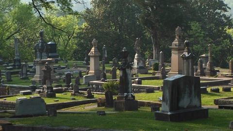 A pan shot of a well-kept cemetery surrounded by a forest... Stock Video Footage