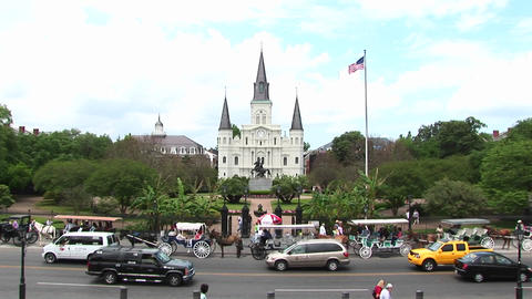 Long-shot view of Jackson Square in the New Orleans French Quarter Footage