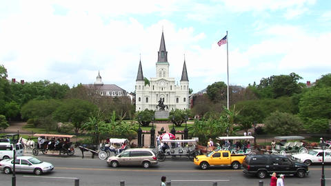 Long-shot view of Jackson Square in the New Orleans... Stock Video Footage