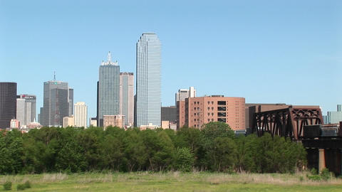 Pan-right of the Dallas, Texas skyline Footage