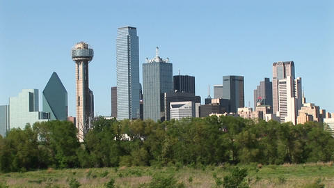 Medium-shot of the Dallas, Texas downtown skyline Stock Video Footage