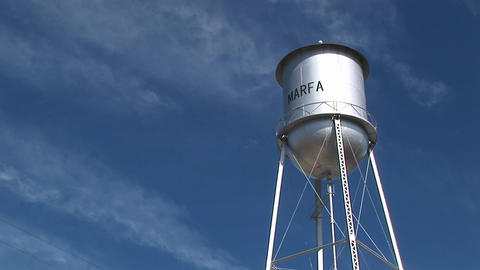 Medium shot of the Marfa water tower Stock Video Footage