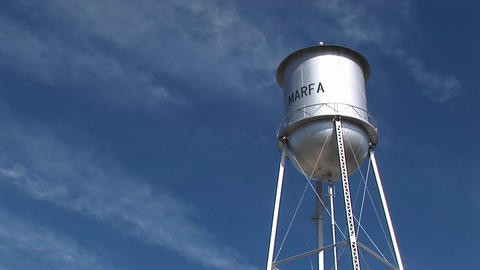 Medium shot of the Marfa water tower Footage