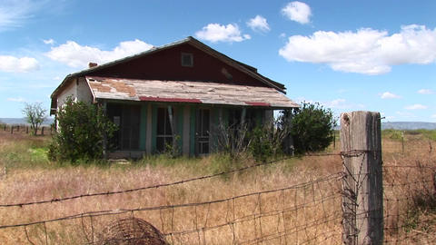 Medium-shot of an old Texas ranch house Footage