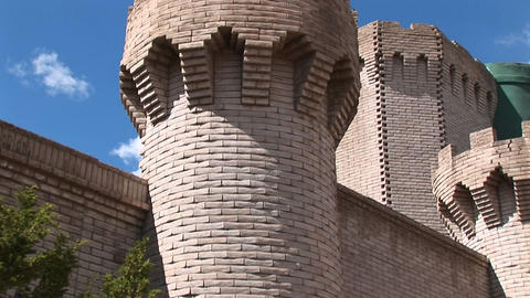 Pan-up of a tower at a medieval castle Stock Video Footage