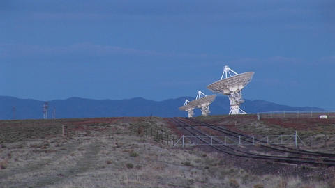 Long-shot of an array of radio antennas at the National Radio Astronomy Observatory in New Mexico Footage