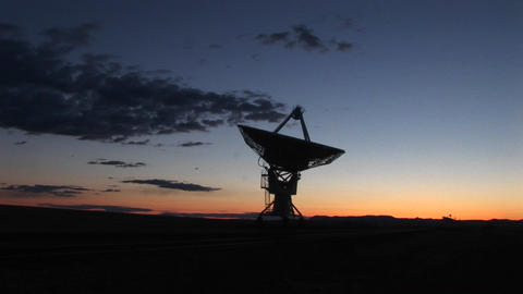 Pan-right of an array at the National Radio Astronomy Observatory in New Mexico Footage