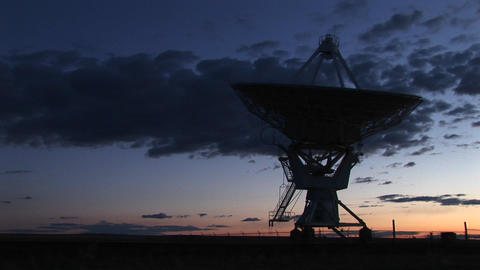 Medium shot of an array at the National Radio Astronomy Observatory in New Mexico Footage
