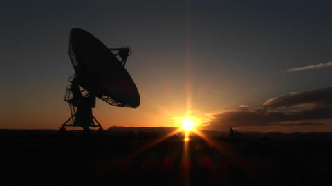 Medium-shot of an array at the National Radio Astronomy Observatory in New Mexico Footage