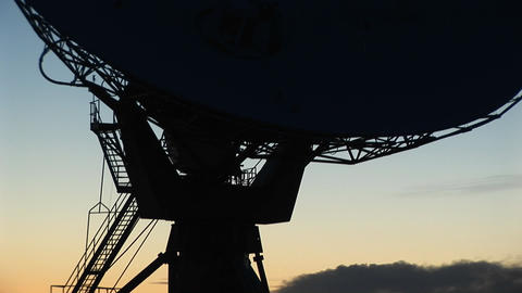 Close-up of the base of a satellite dish in the array at... Stock Video Footage