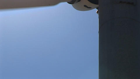 Close-up of the blades of a wind turbine at Tehachapi, California Footage