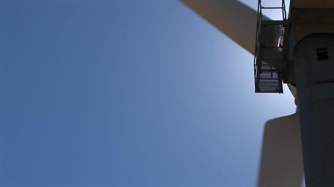 Close-up of the rotor and nacelle of a wind turbine at Tehachapi, California Footage