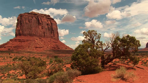 Long-shot of a sandstone formation at Monument Valley... Stock Video Footage