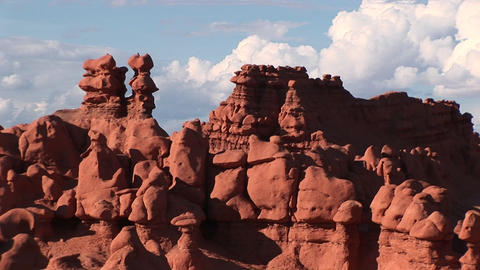 Medium-shot of sandstone formations at Goblin Valley... Stock Video Footage