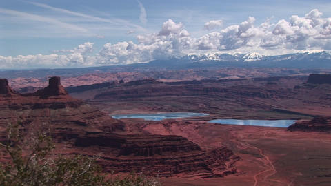 Long-shot of lakes and mountains in Canyonlands National... Stock Video Footage