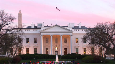 Medium shot of the White House at golden-hour Stock Video Footage