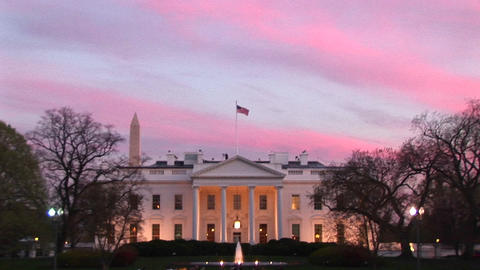 Zoom-in of the White House at golden-hour Footage