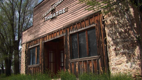 Medium shot of an old-west style Territorial Theater Footage
