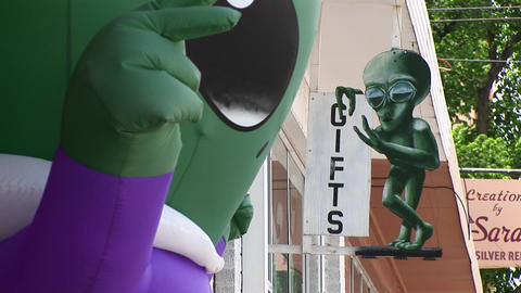 Close-up of the sign for an alien gift shop in Roswell,... Stock Video Footage