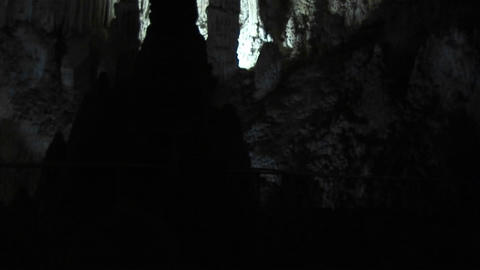 Pan up shot of the inside of a cave at Carlsbad Caverns... Stock Video Footage