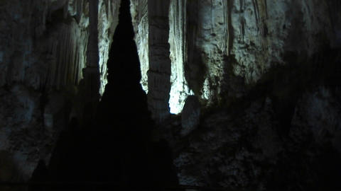 Pan up shot of the inside of a cave at Carlsbad Caverns National Park in New Mexico Footage