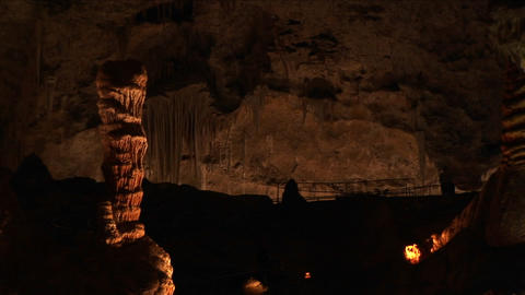 Medium shot of limestone formations in a cave at Carlsbad... Stock Video Footage