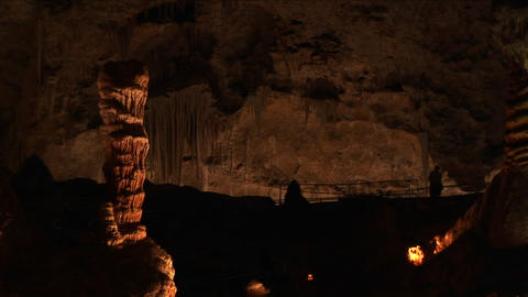 Medium shot of limestone formations in a cave at Carlsbad Caverns National Park in New Mexico Footage