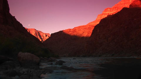 Long shot of the Colorado River flowing through the Grand... Stock Video Footage