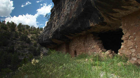 Medium shot of cliff dwellings in Walnut Canyon National... Stock Video Footage