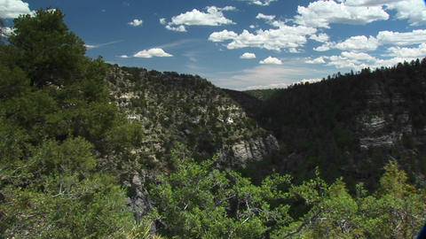 Long shot of Walnut Canyon National Monument in Arizona Stock Video Footage