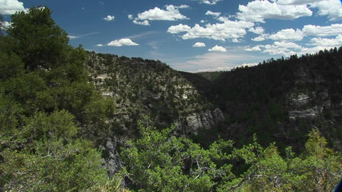 Long shot of Walnut Canyon National Monument in Arizona Live Action