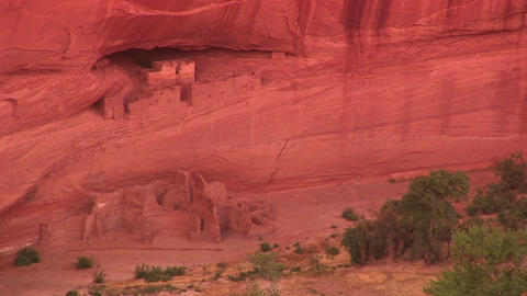 Long shot of cliff dwellings in Canyon De Chelly National Monument Footage