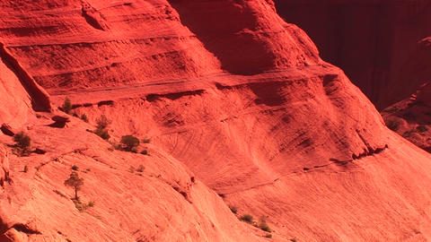 Medium shot of sandstone cliffs in Canyon De Chelly National Monument Footage