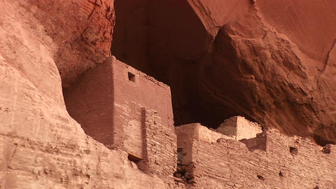 Close-up of cliff dwellings in Canyon De Chelly National... Stock Video Footage