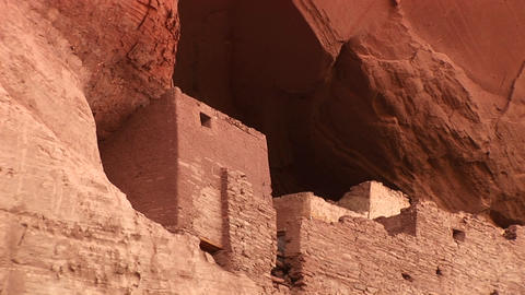 Close-up of cliff dwellings in Canyon De Chelly National Monument Footage